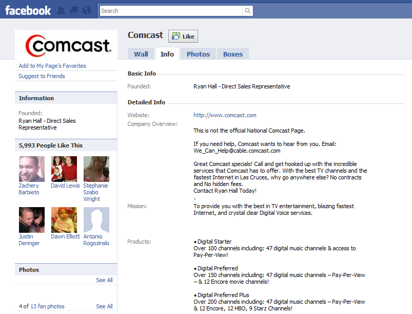 Comcast Facebook Page
